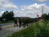Lige inden Tåsinge-hallen efter marchen